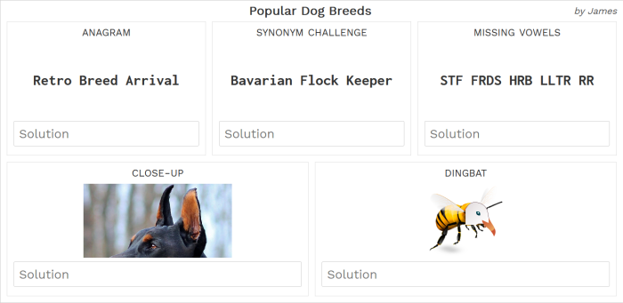 Screenshot of Dog Breeds puzzle card